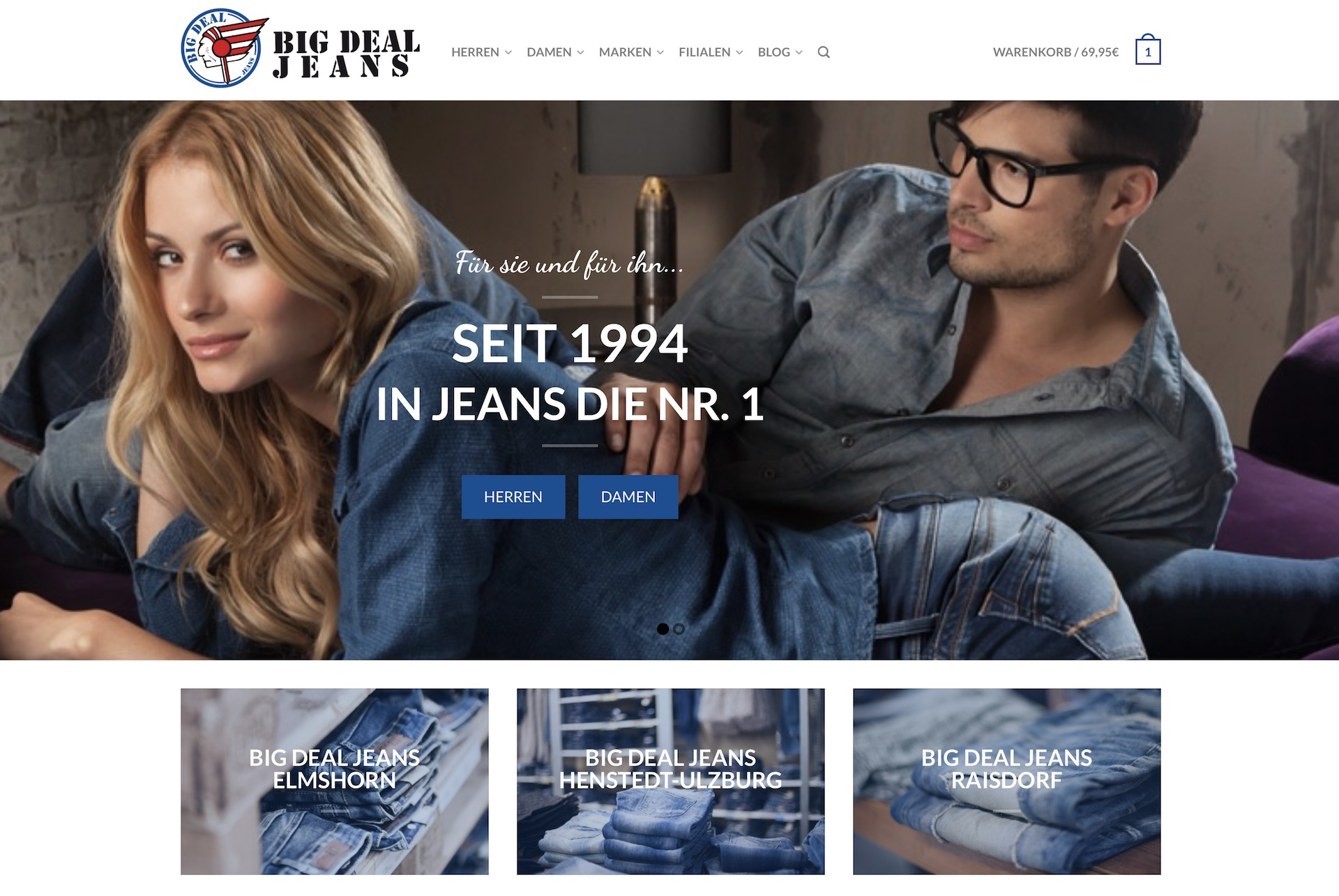 Big Deal Jeans Homepage