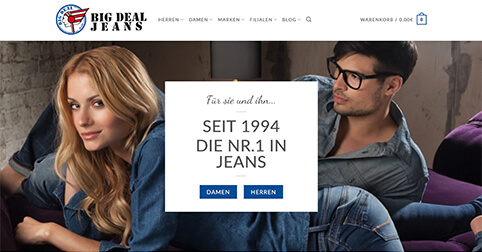 BigDeal Jeans Onlineshop Homepage