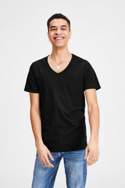 Jack & Jones V-Neck Tee S/S black Vorderansicht