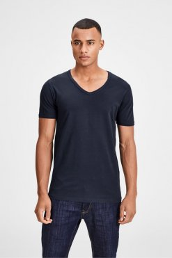 Jack & Jones V-Neck Tee S/S navy blue Vorderansicht