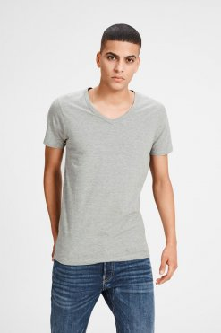 Jack & Jones V-Neck Tee S/S light grey melange Vorderansicht