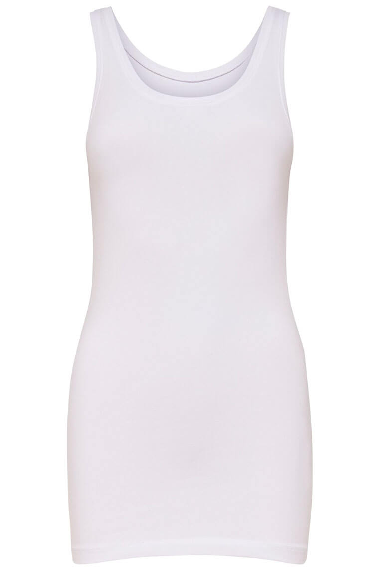Only Live Love Long Tank Top white Vorderansicht