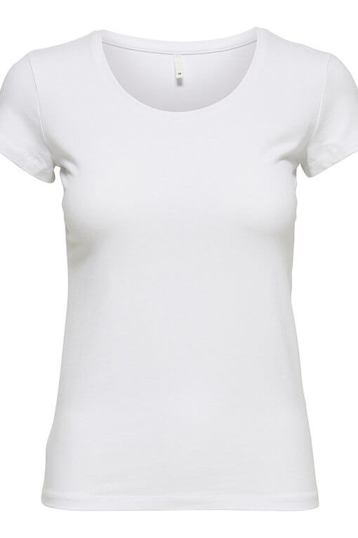 Only Live Love New O-Neck SS Top white Vorderansicht