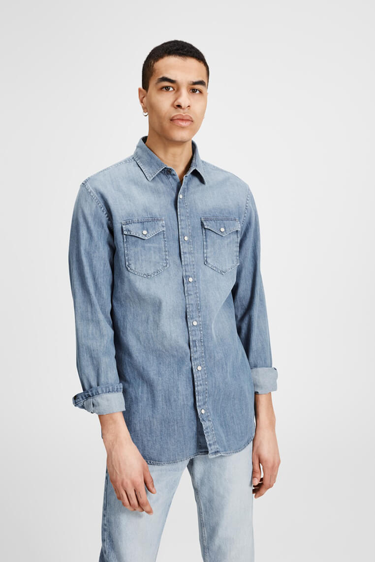 Jack & Jones Denim Shirt light blue denim Vordernansicht 2