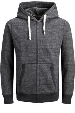 Jack & Jones Space Sweat Zip dark grey melange Vorderansicht